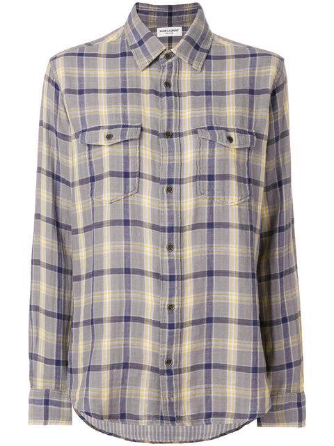 Saint Laurent Oversized Checked Flannel Shirt - Grey
