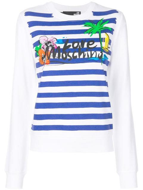 Love Moschino Striped Holiday Sweatshirt