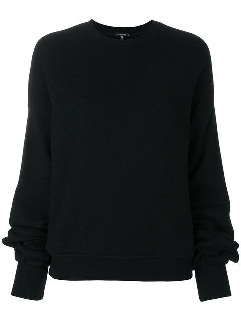 R13 Pleated Sleeve Sweatshirt In Black