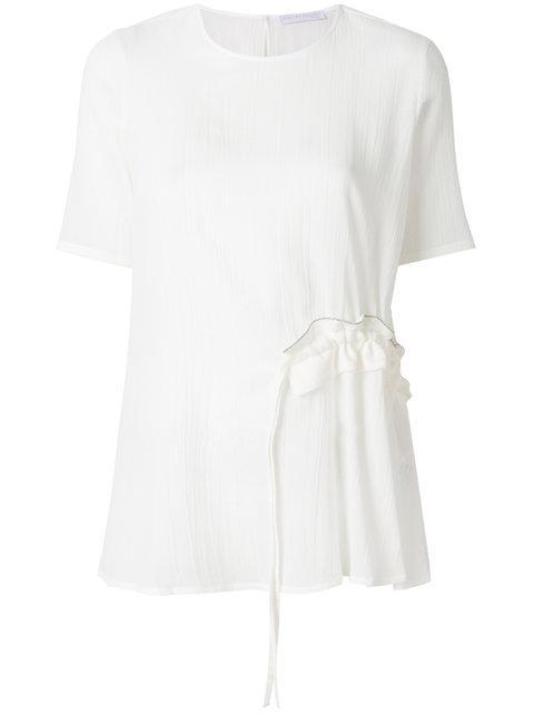 Fabiana Filippi Gathered Ruffle Front T-shirt - White