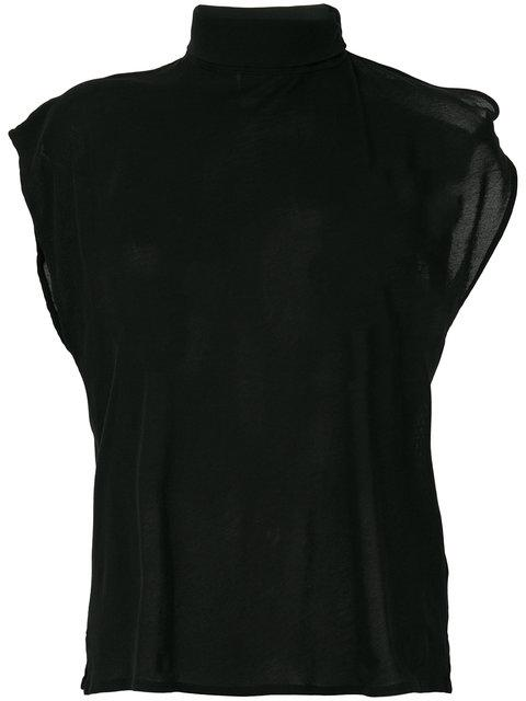 Mm6 Maison Margiela T-shirt Mit Schalkragen In Black