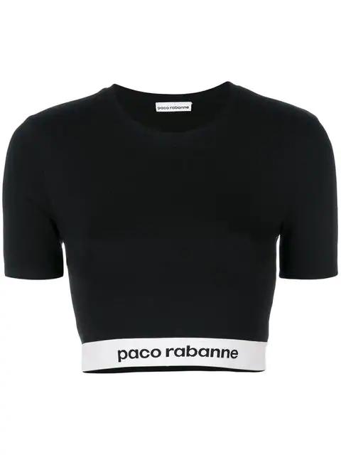 Paco Rabanne Cropped Elasticated Waist T-shirt - Black