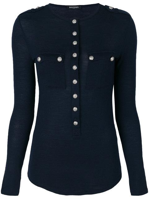 Balmain Embossed Button Top In Blue