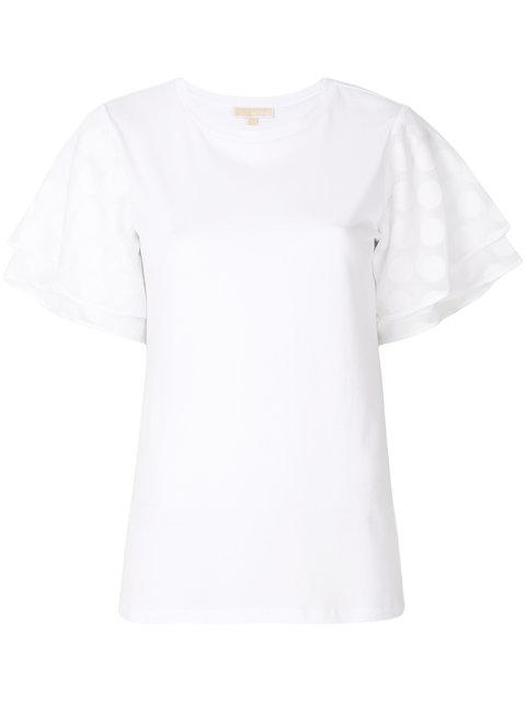 Michael Michael Kors Polka Dot Sleeve T-shirt - White