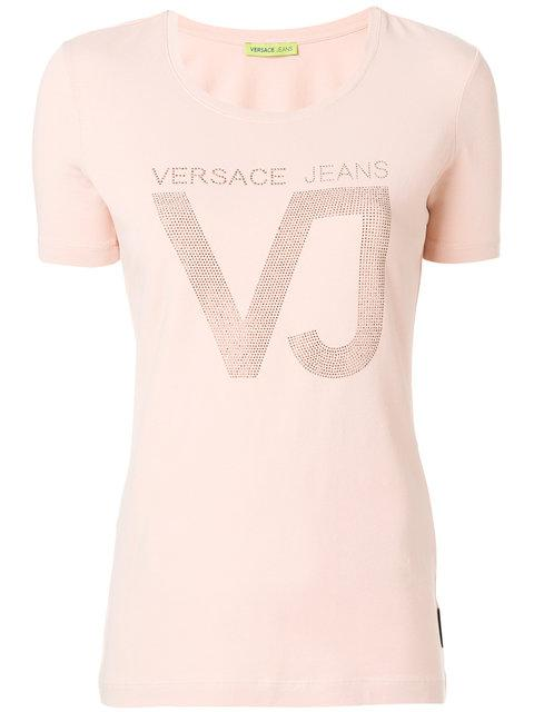 Versace Jeans Embellished Logo T-shirt  In Pink & Purple