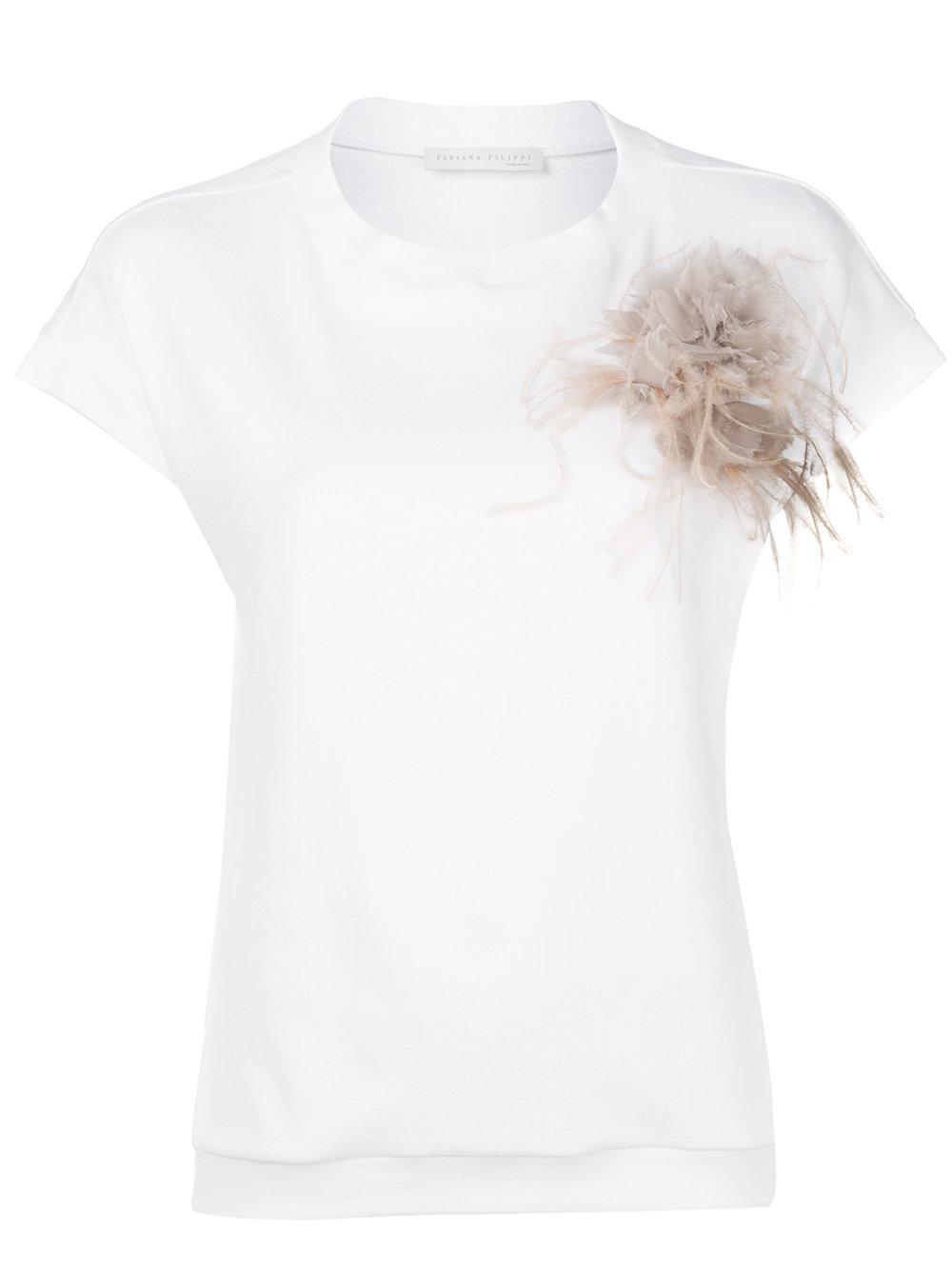 Fabiana Filippi Floral Brooche T In White