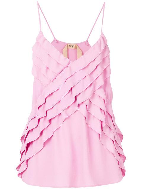 N°21 Nº21 Ruffle Front Cami - Pink & Purple