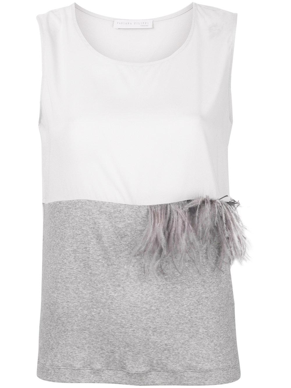 Fabiana Filippi Feathered Detail Tank Top In Grey