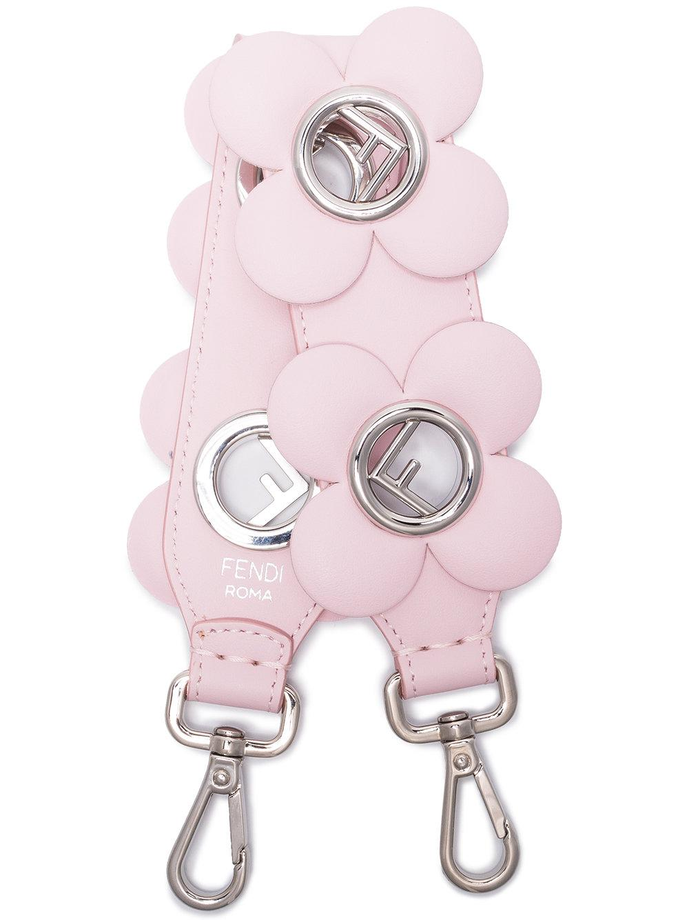 Fendi Pink Mini Strap You Floral Leather Bag Strap In Pink&purple
