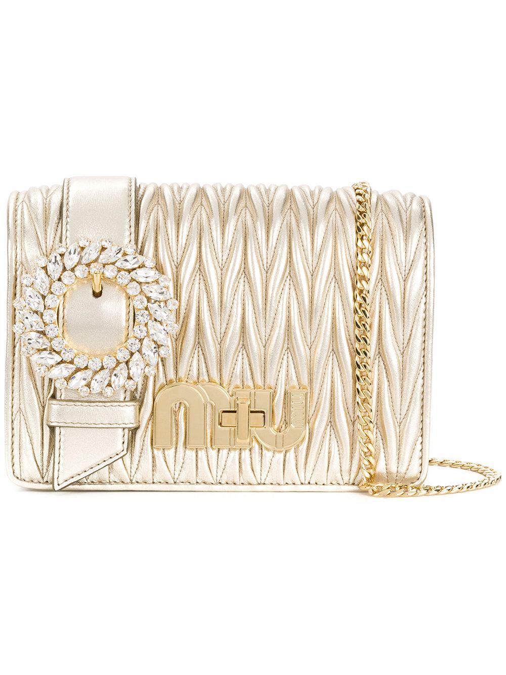 Miu Miu My Miu Shoulder Bag In Metallic
