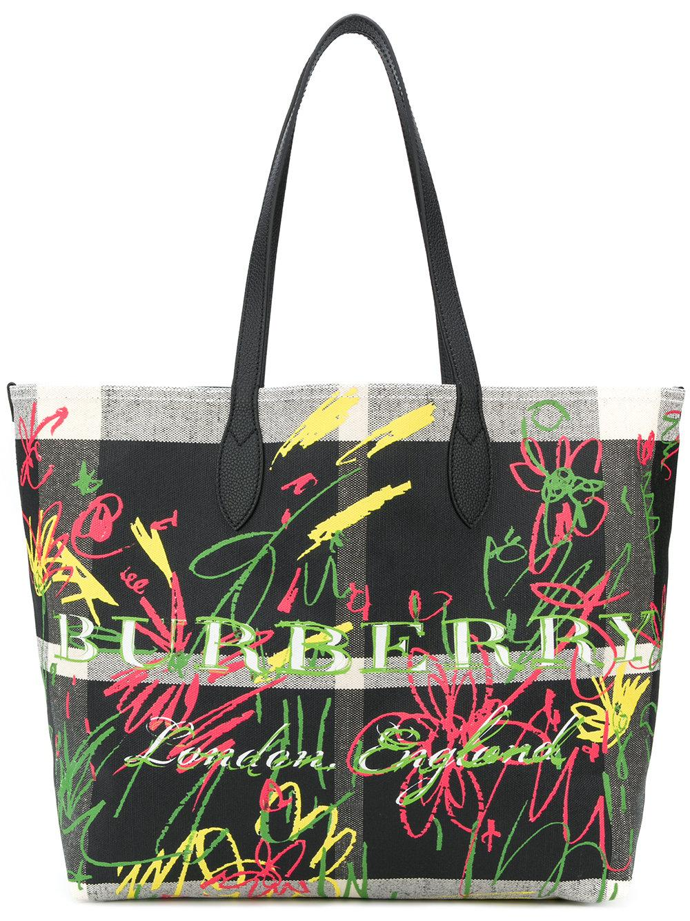 Burberry Large Reversible Doodle Tote Bag - Black