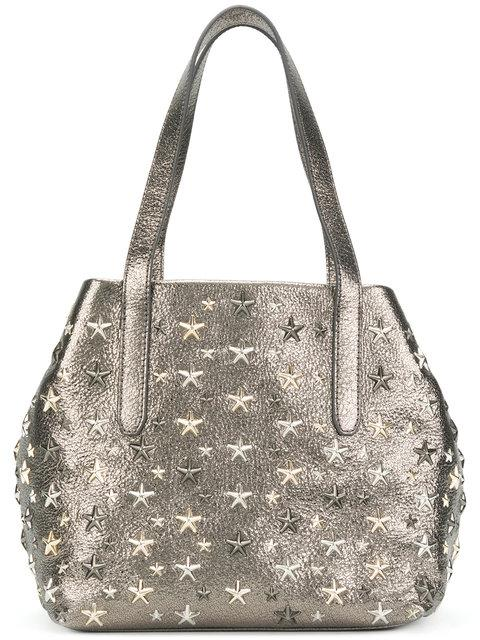 Jimmy Choo Star Studded Tote In Grey