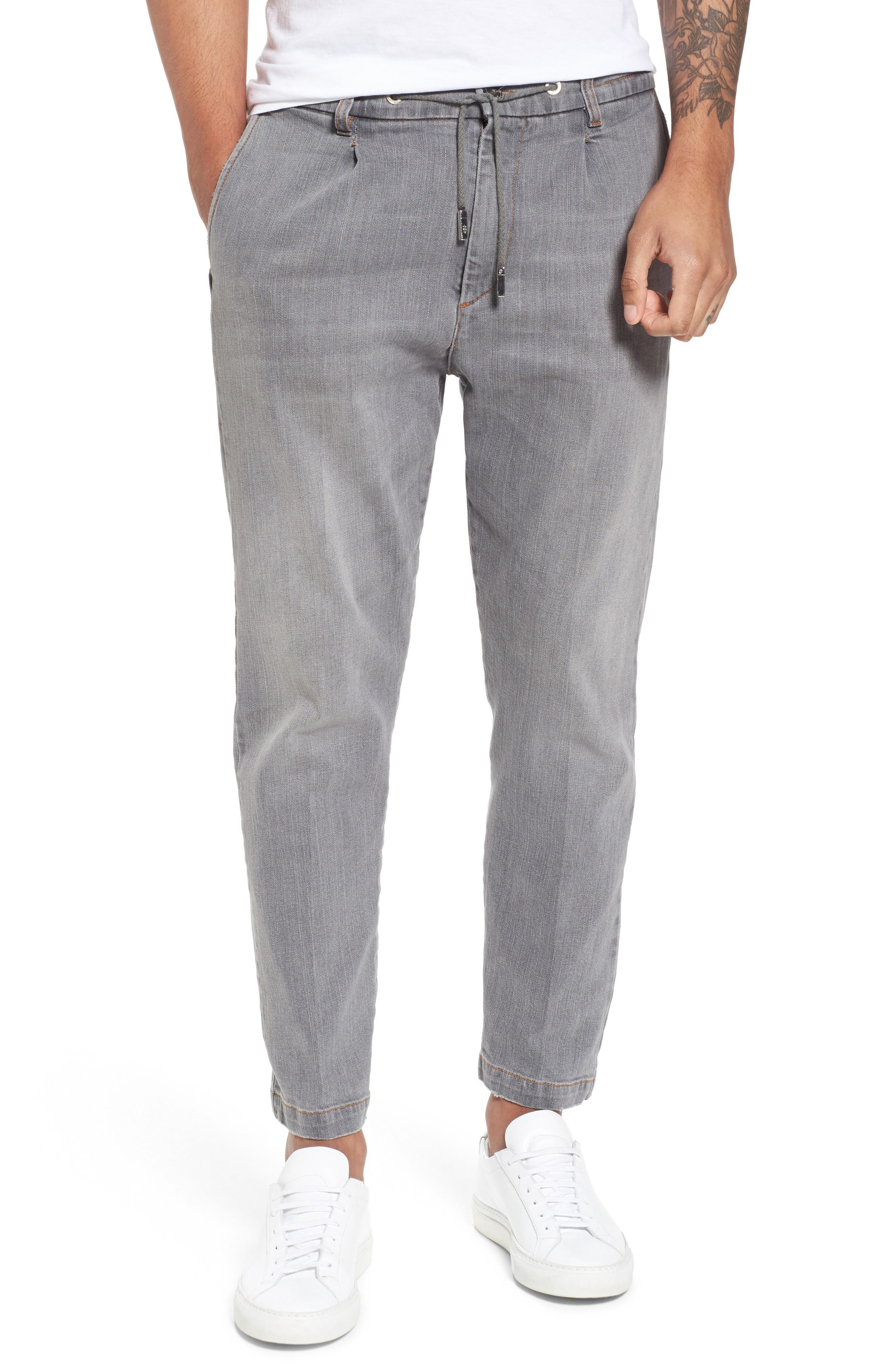 Eleventy Denim Jogger Pants In Grey