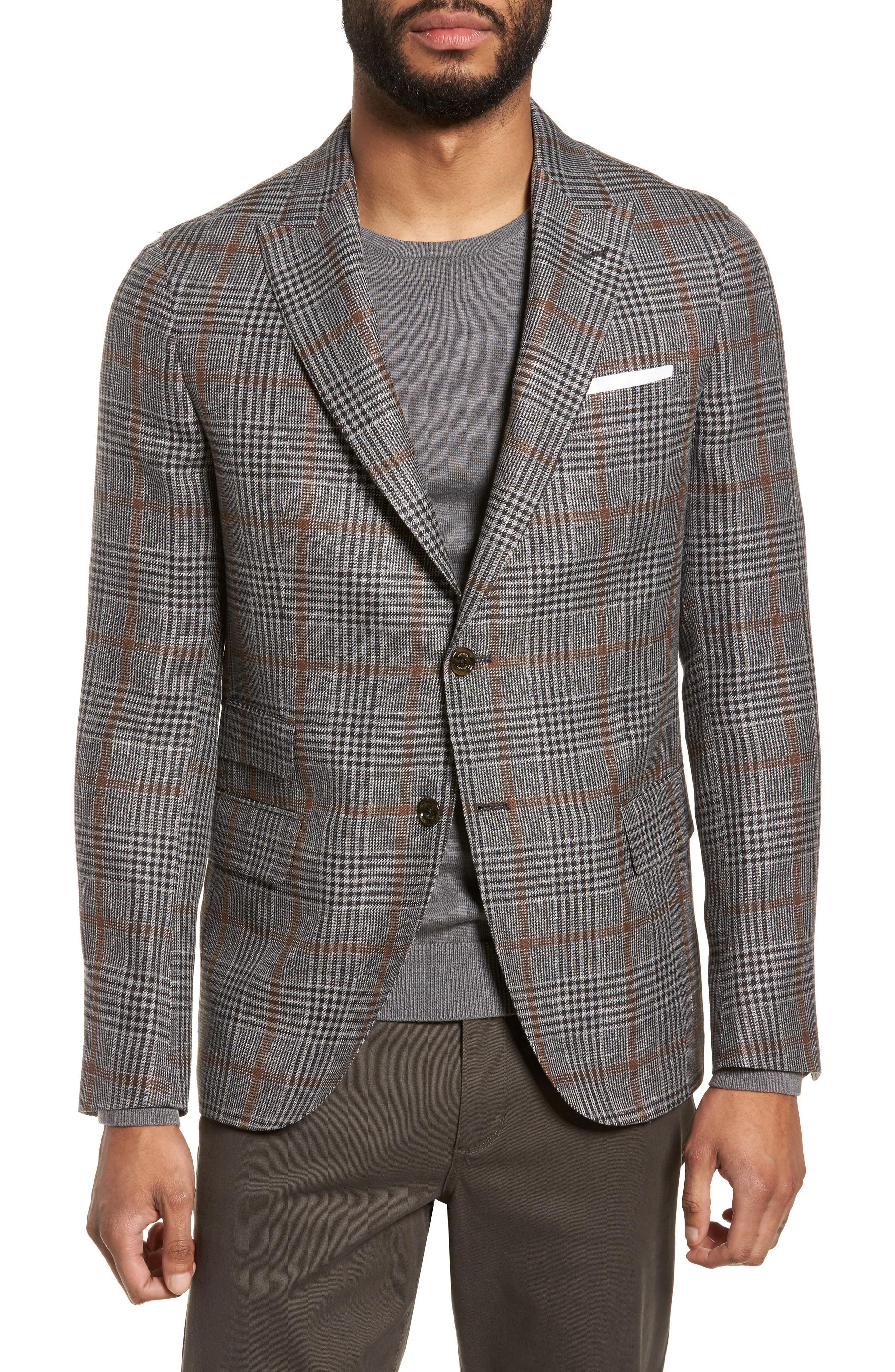 Eleventy Trim Fit Plaid Linen Blend Sport Coat In Light Grey