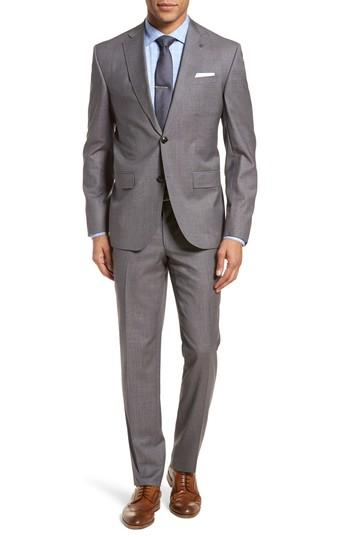 Ted Baker Roger Slim Fit Solid Wool Suit In Taupe