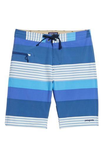 Patagonia Wavefarer Board Shorts In Fitz Stripe: Superior Blue