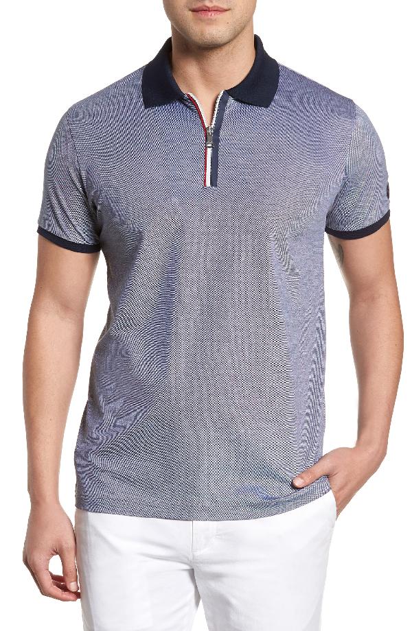 Paul & Shark Zipped Melange Polo Shirt In Blue