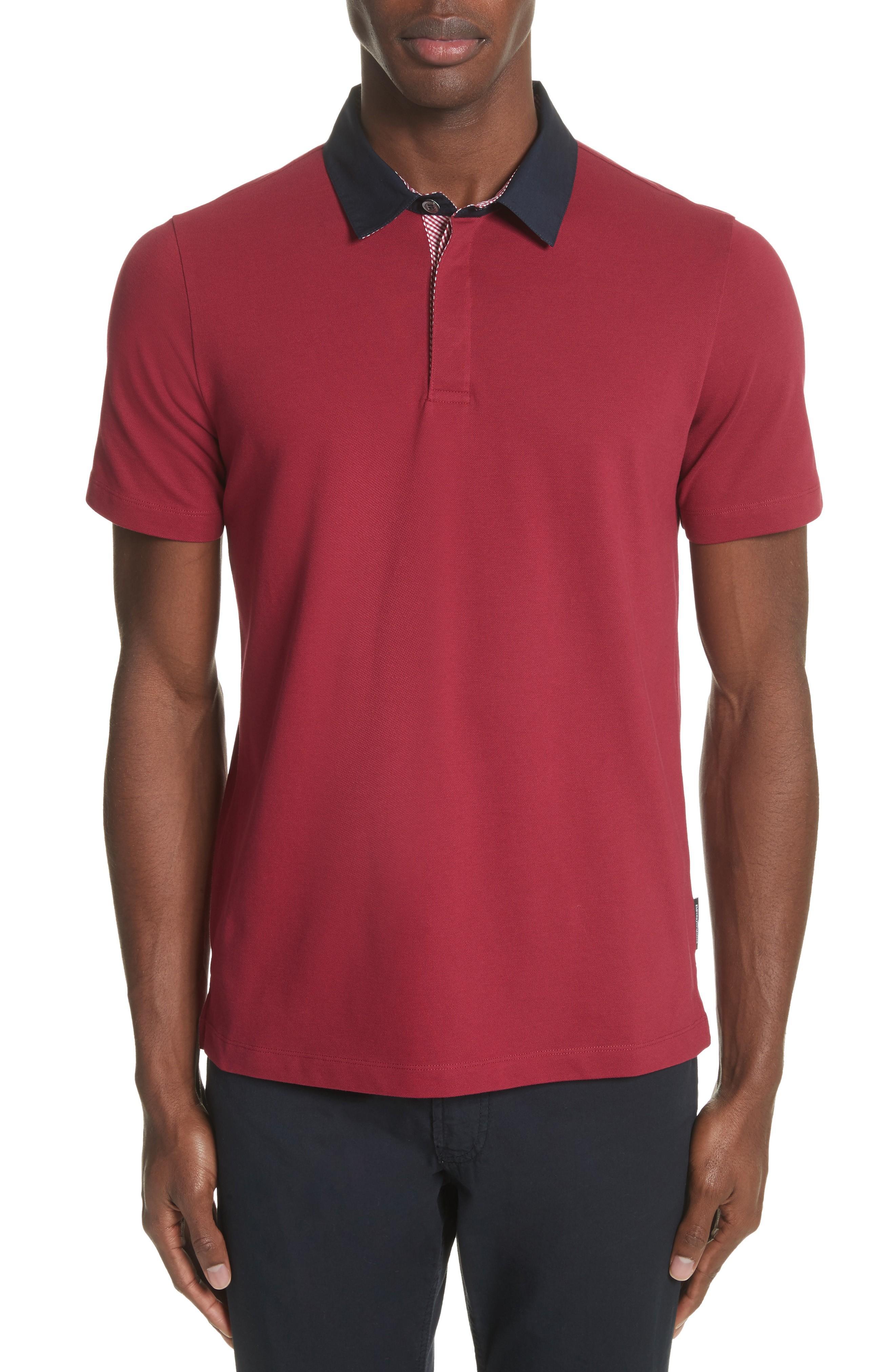 Emporio Armani Slim Fit Pique Polo Shirt In Borgogna