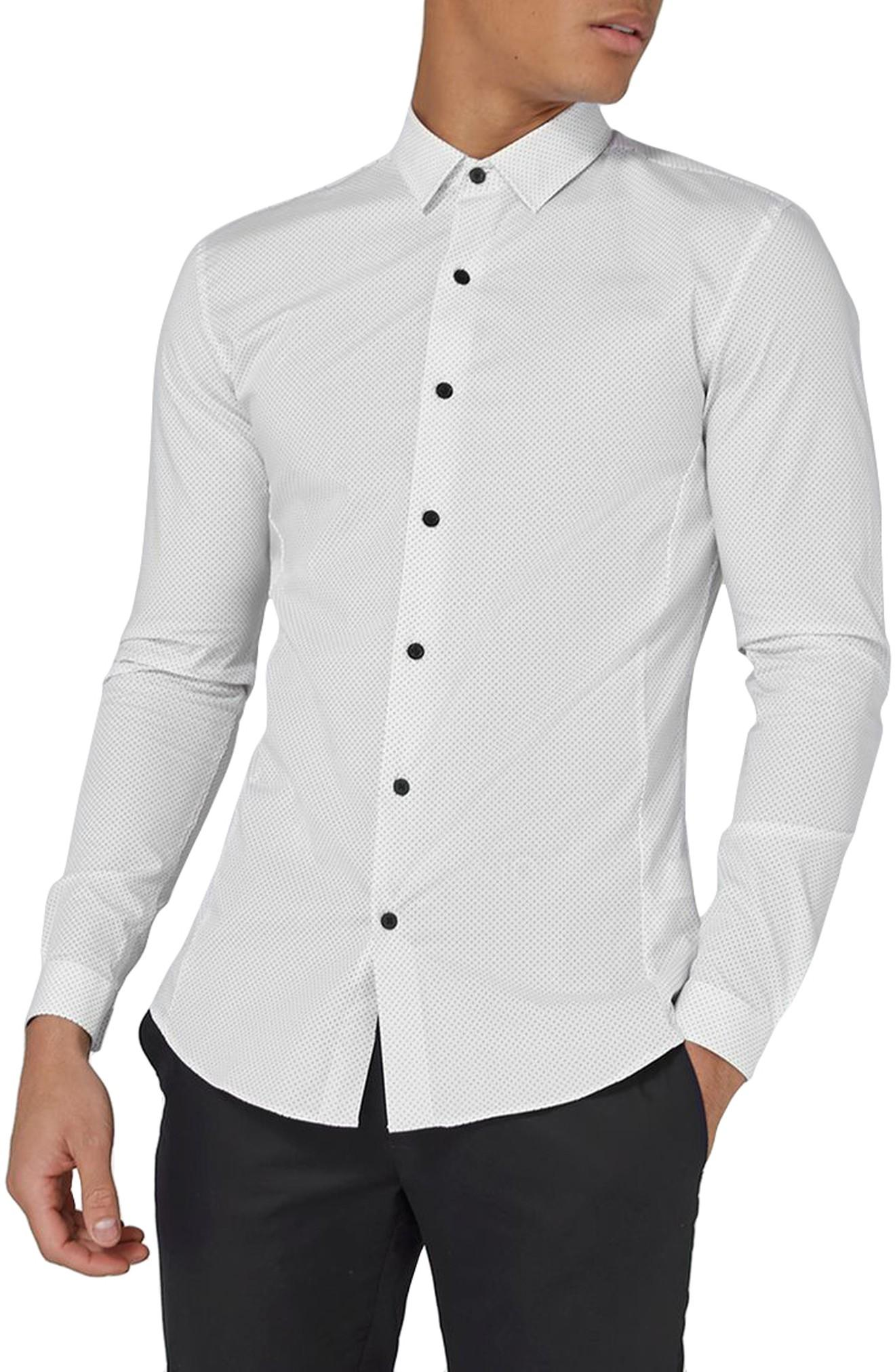 Topman Muscle Fit Polka Dot Sport Shirt In White Multi