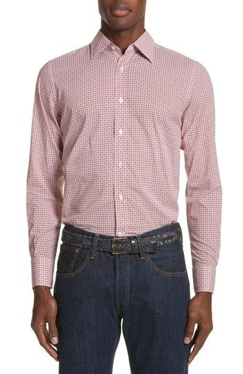 Canali Slim Fit Geometric Print Sport Shirt In Bright Red