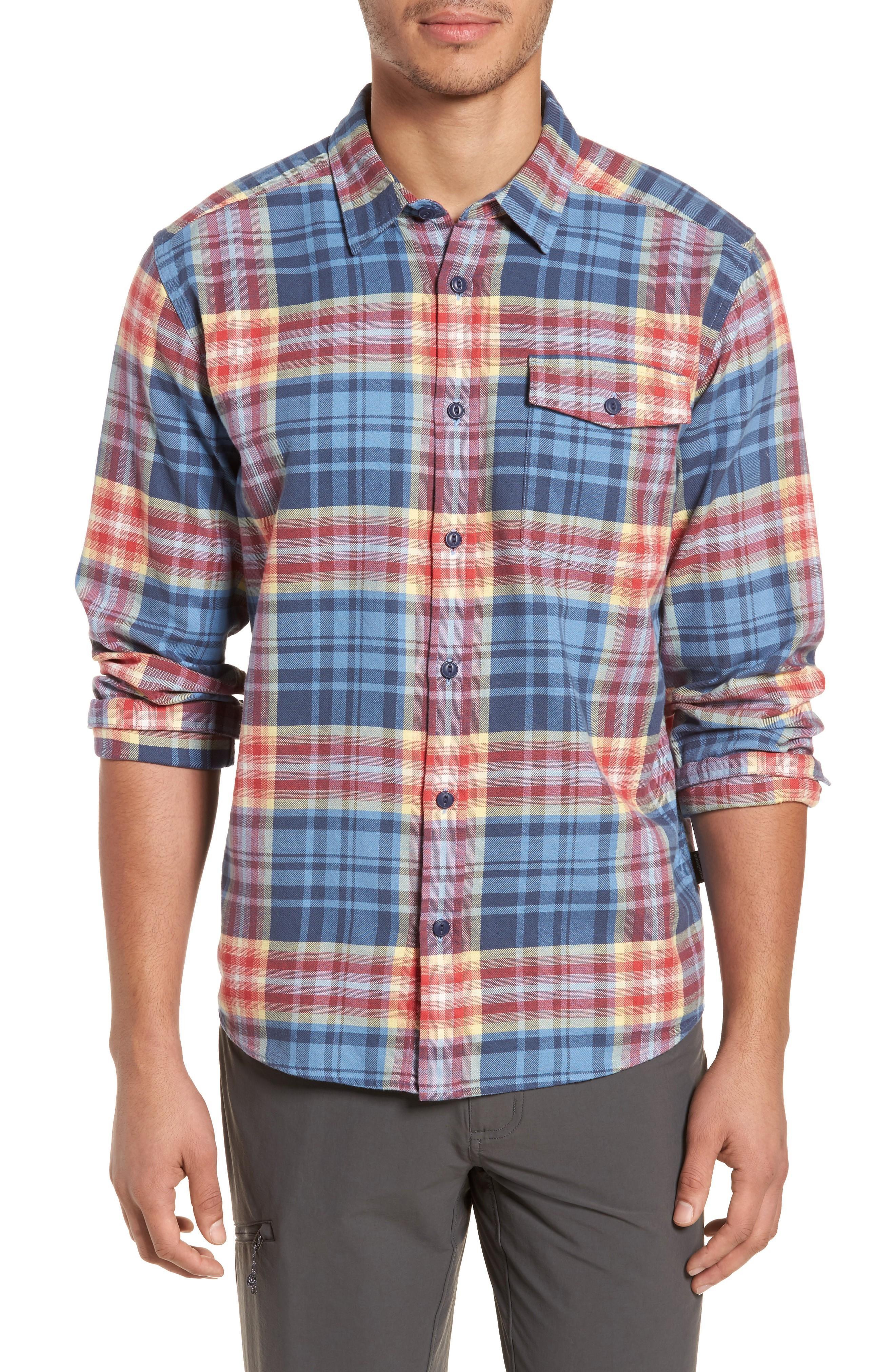 Patagonia Regular Fit Organic Cotton Flannel Shirt In Railroad Blue