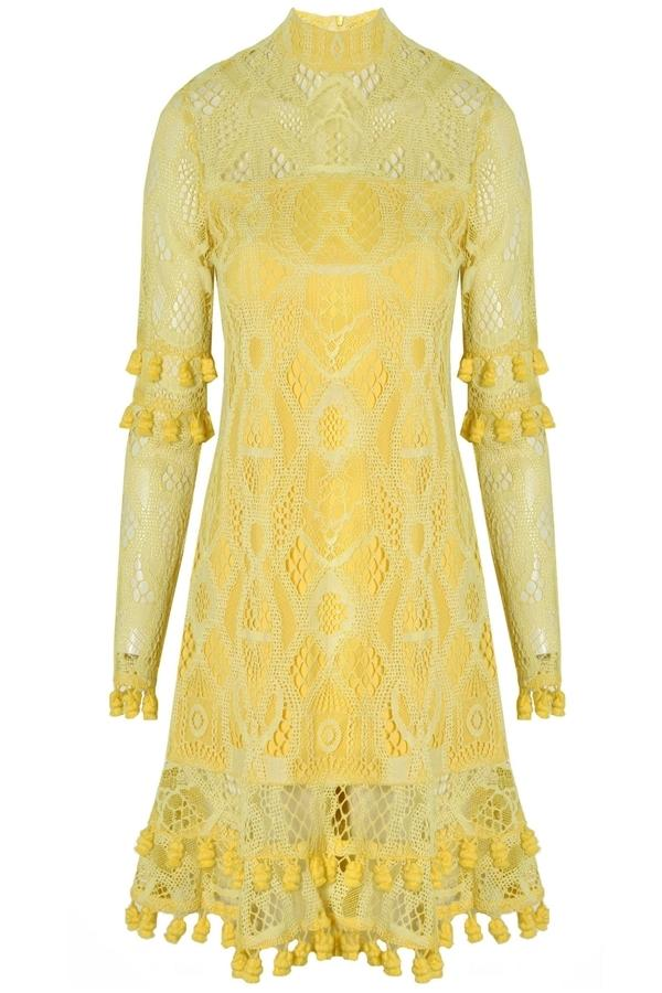 Alexis Callisto Dress In Yellow Lace