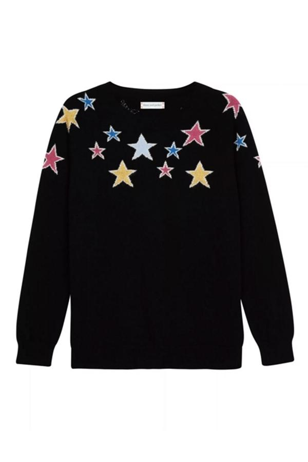 Chinti & Parker Black Stardust Lurex Cashmere Sweater In Black, Multi-coloured, Pink, Gold