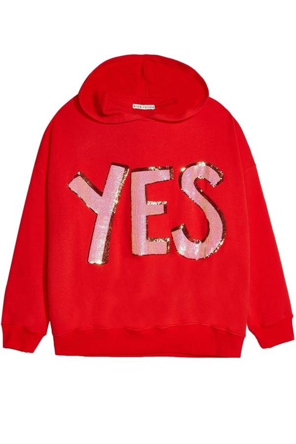Alice And Olivia Vernie Pullover Hoodie In Red