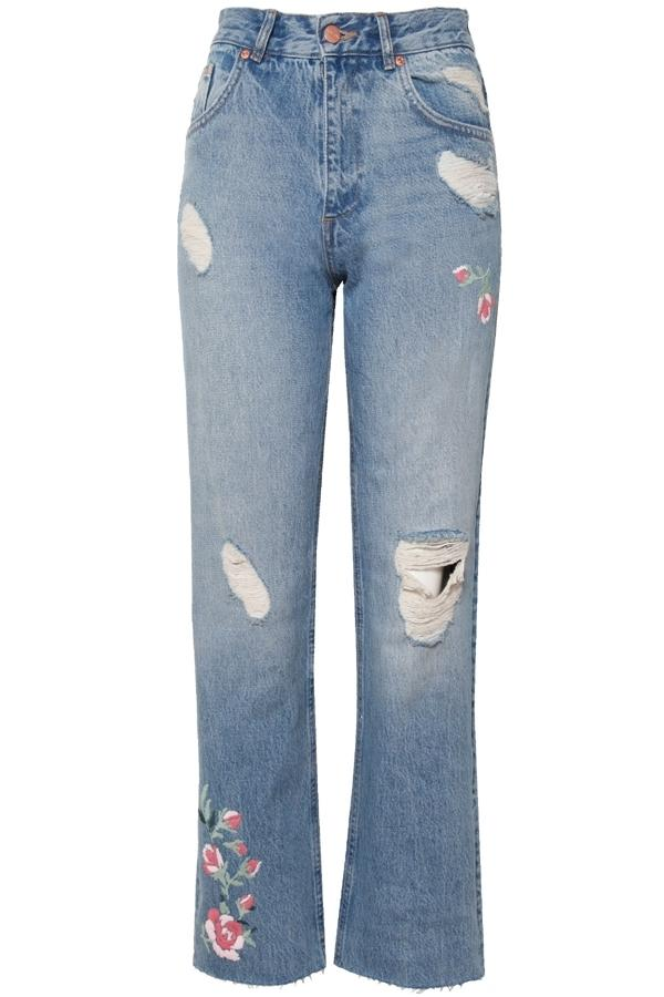 Anine Bing Embroidered Jeans In Denim, Blue