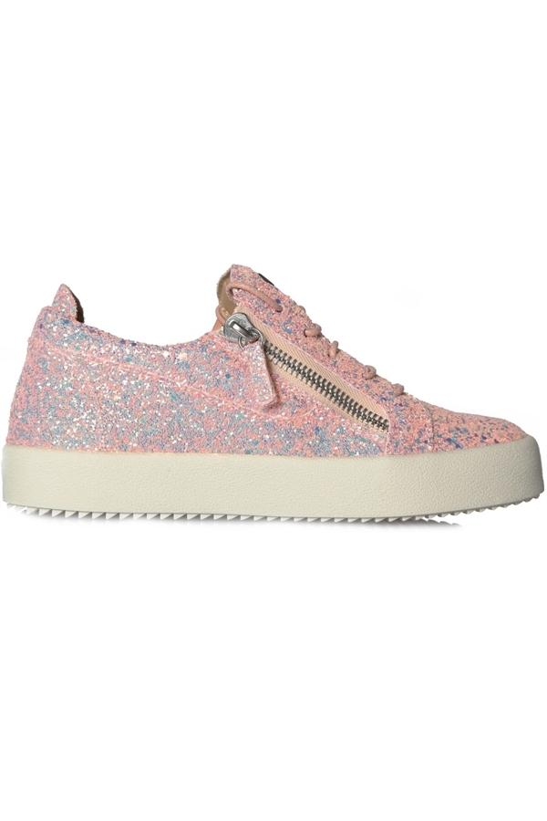 Giuseppe Zanotti May London Sneakers Pink Glitter In Pink, White