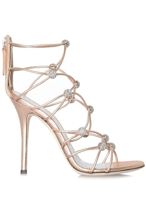 Giuseppe Zanotti Zig Zag Metallic Leather Sandals In Rose Gold, Silver