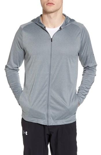 Hurley Icon Quick Dry Zip Hoodie In Cool Grey Heather