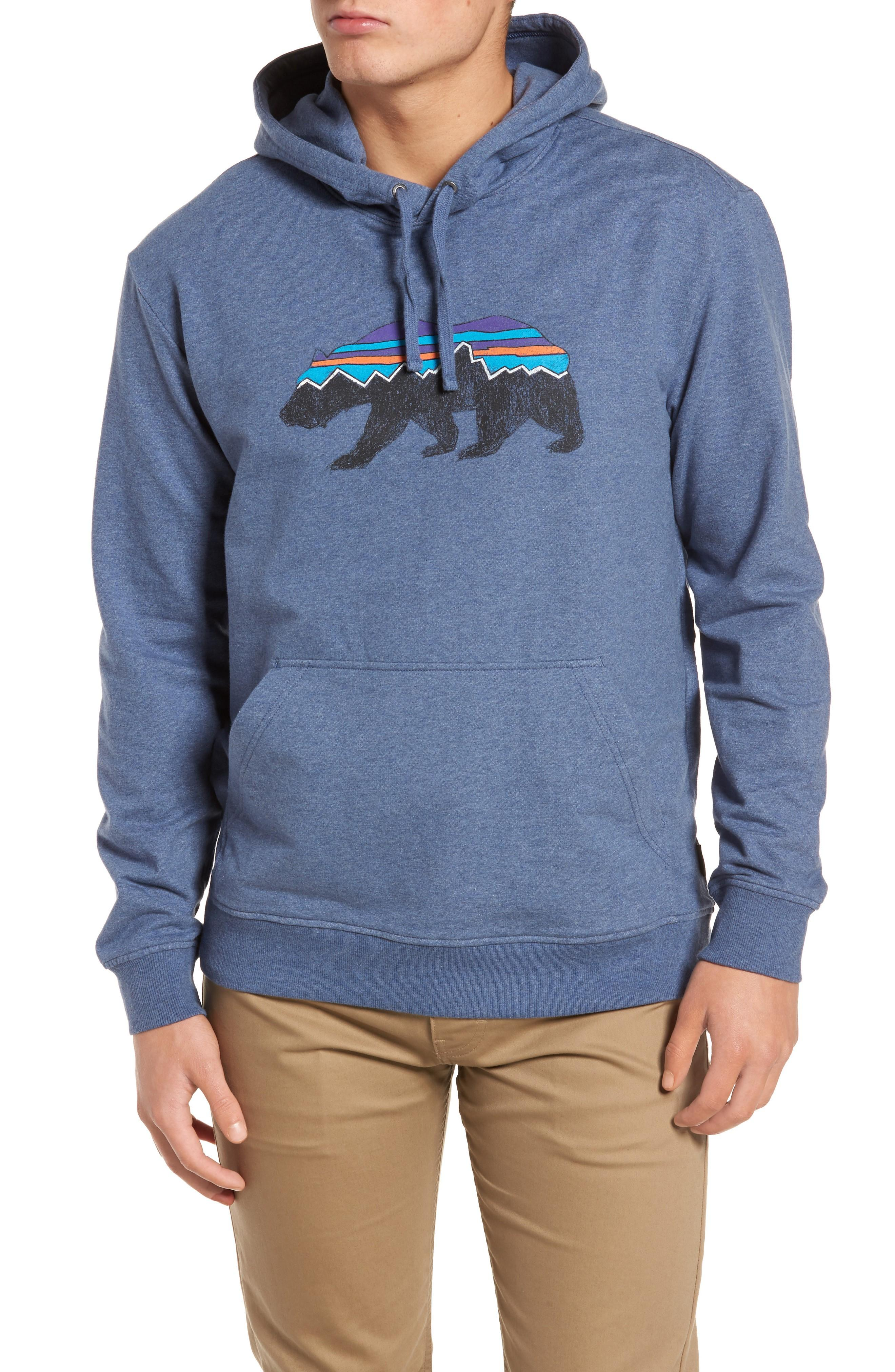 new product promo codes discount shop Fitz Roy Bear Graphic Hoodie in Dolomite Blue
