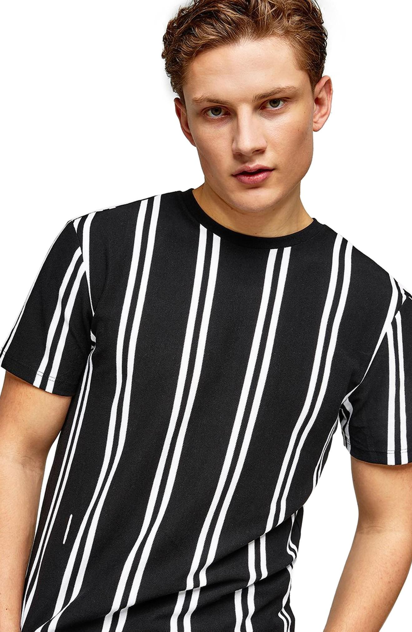 Topman Stripe Pique T-shirt In Black Multi