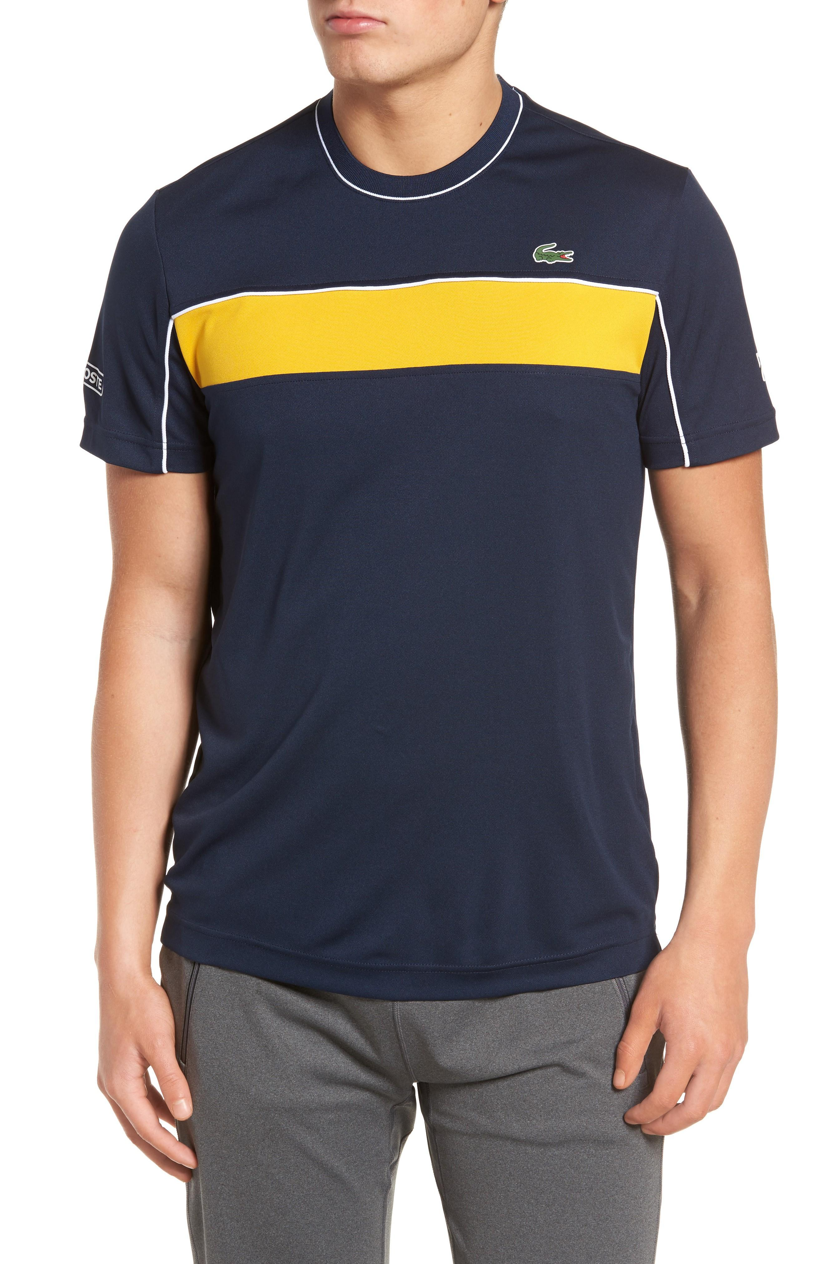 Lacoste Pique T-shirt In Navy Blue/ Buttercup-white