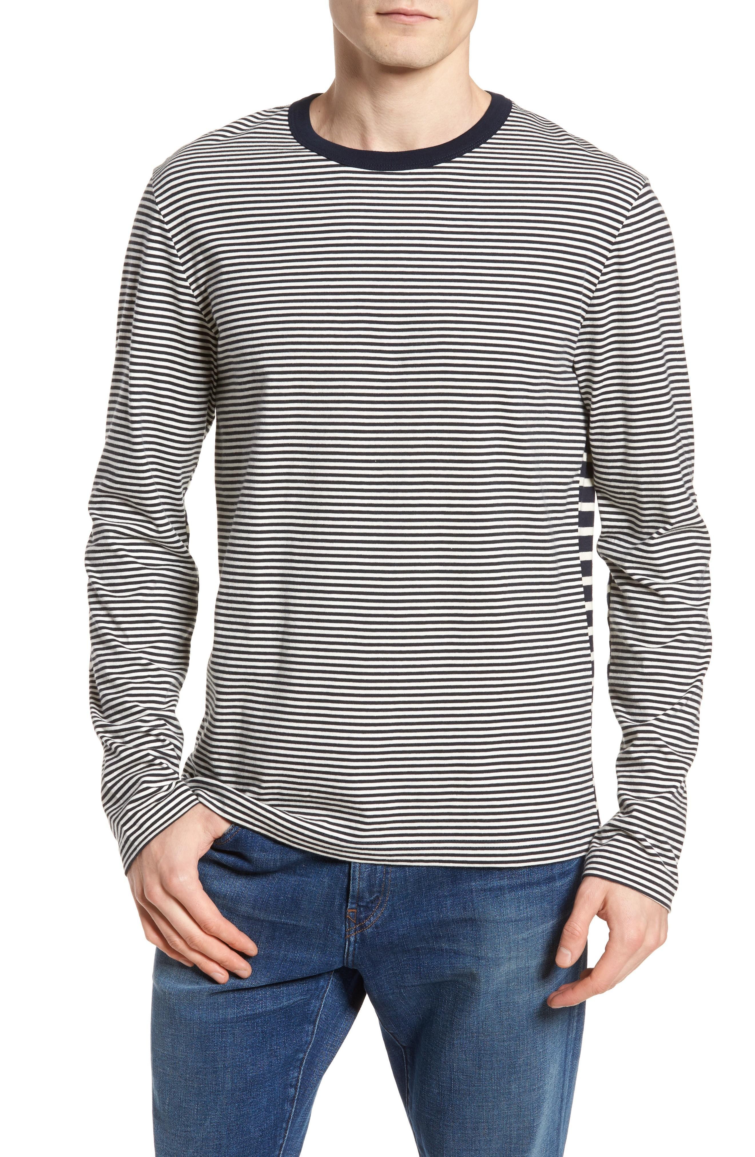 French Connection Mix Stripe Long Sleeve T-shirt In Turtle Dove/ Marine Blue