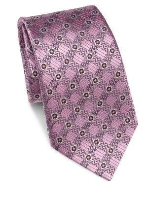 Ermenegildo Zegna Square In Square Print Silk Tie In Pink