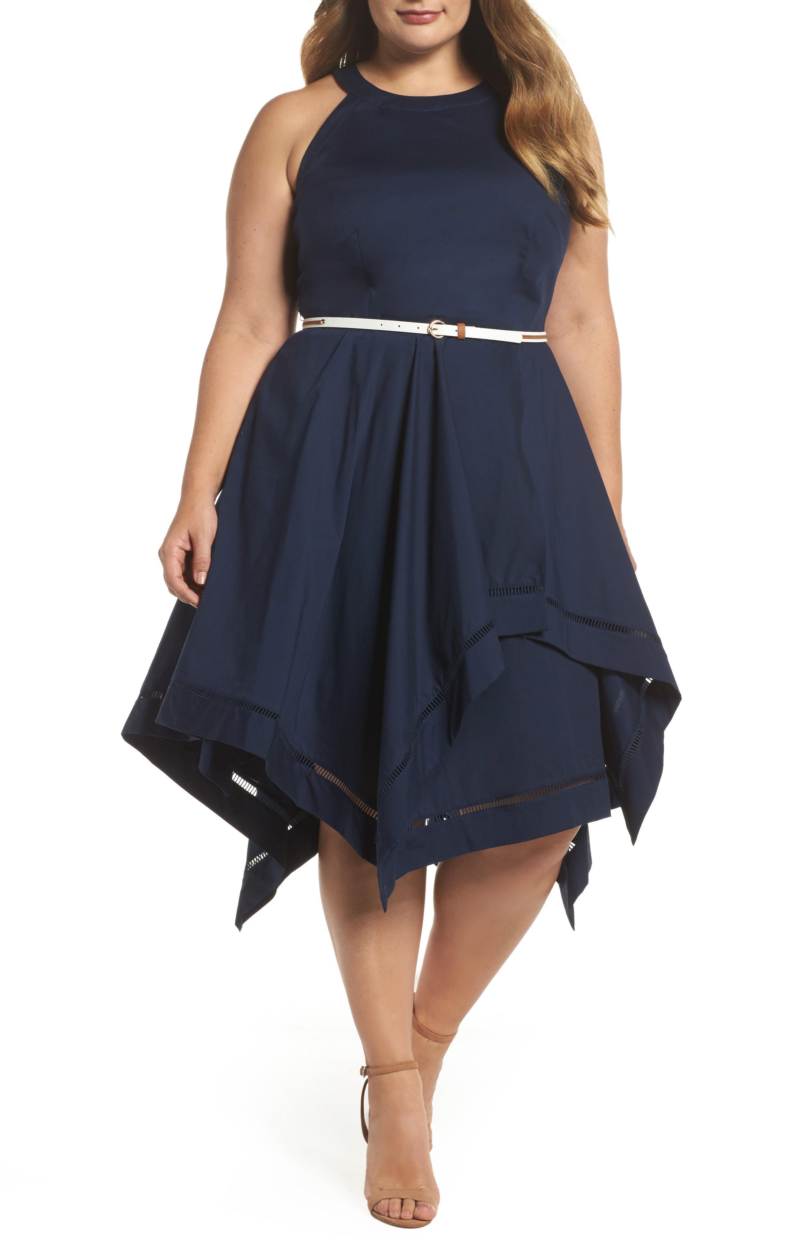 Eliza J Handkerchief Hem Fit & Flare Dress In Navy
