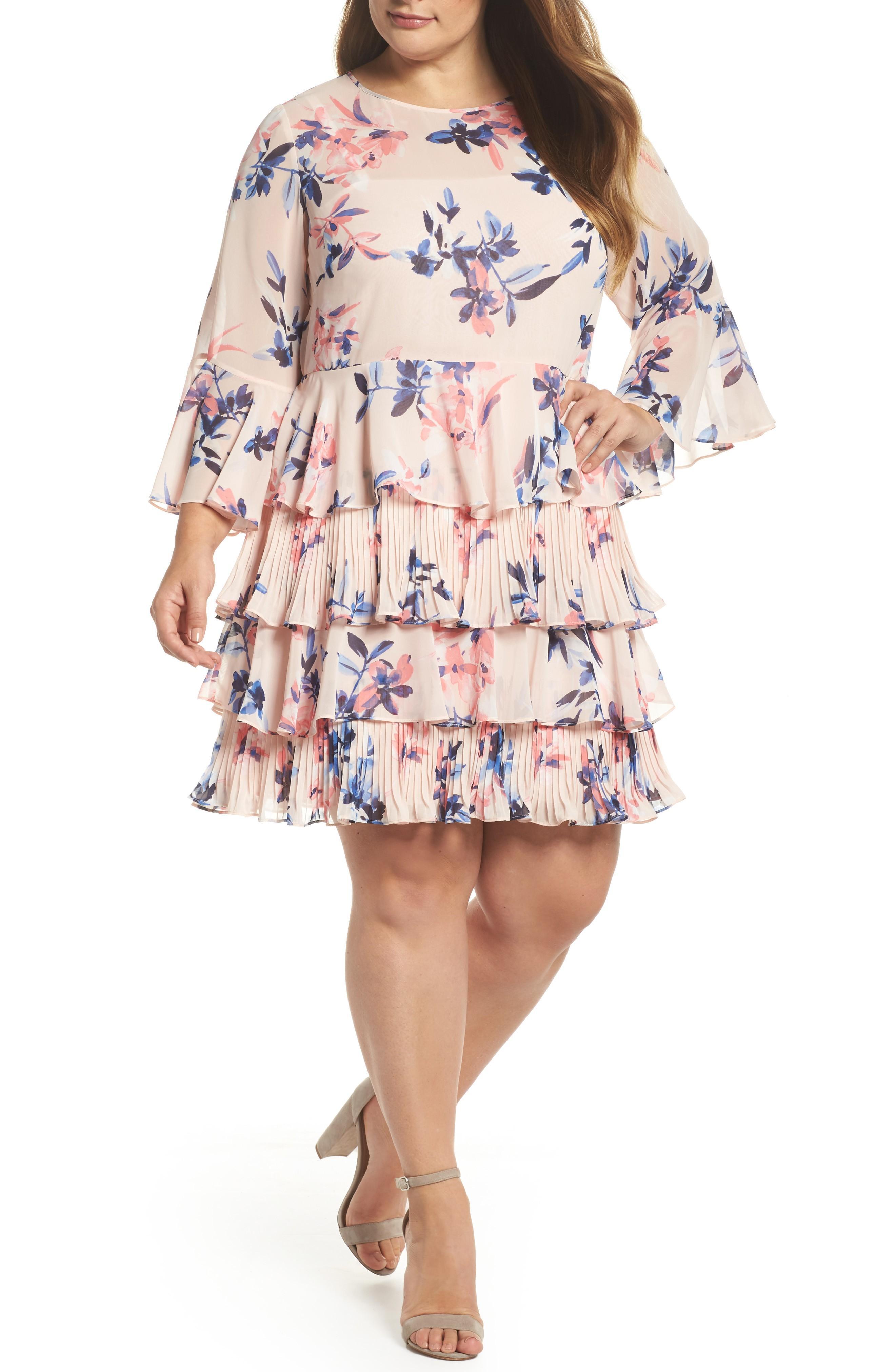 bc47e93725e Eliza J Bell Sleeve Tiered Ruffle Dress In Blush