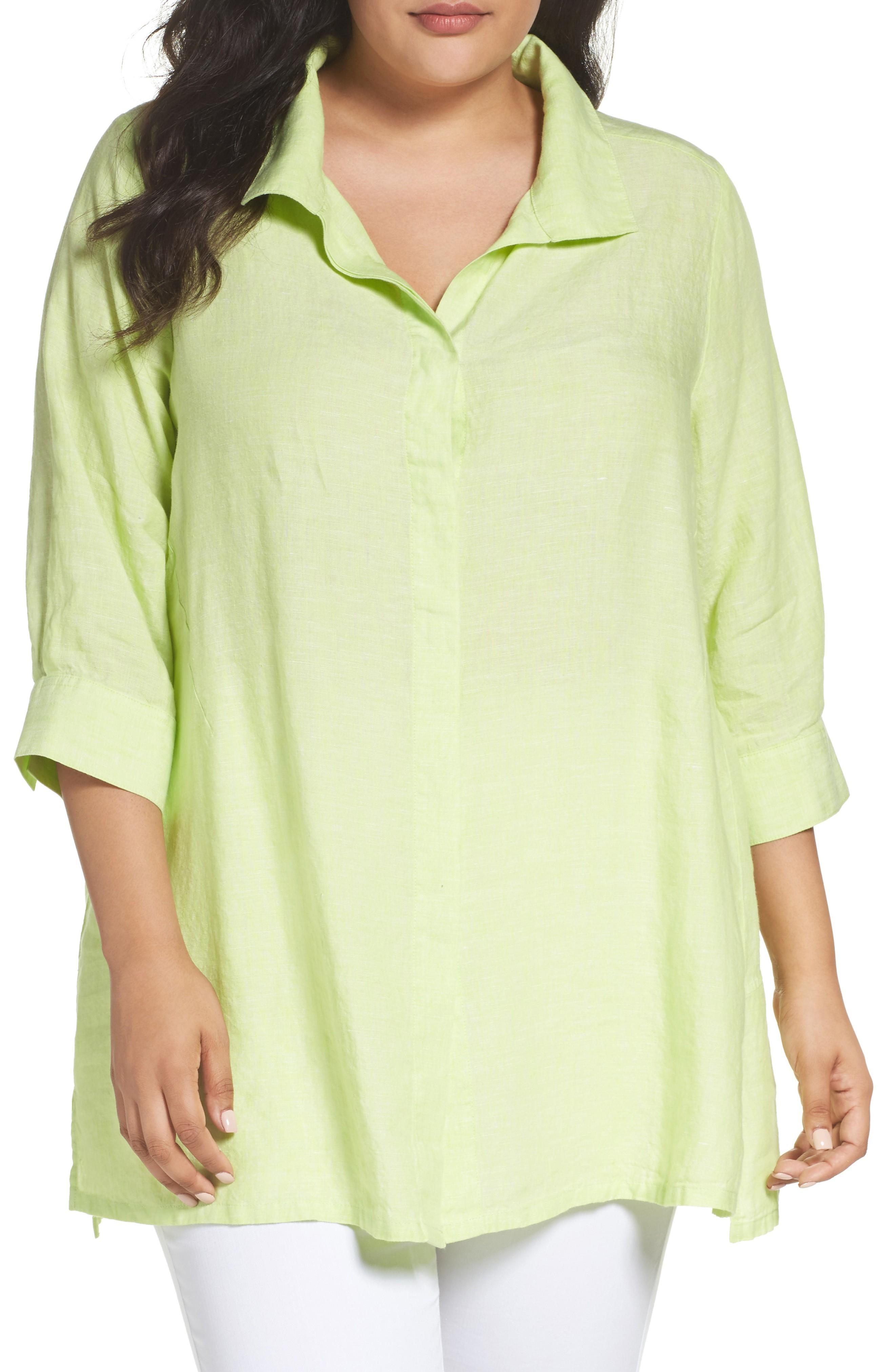 Foxcroft Linen Chambray Tunic In Key Lime