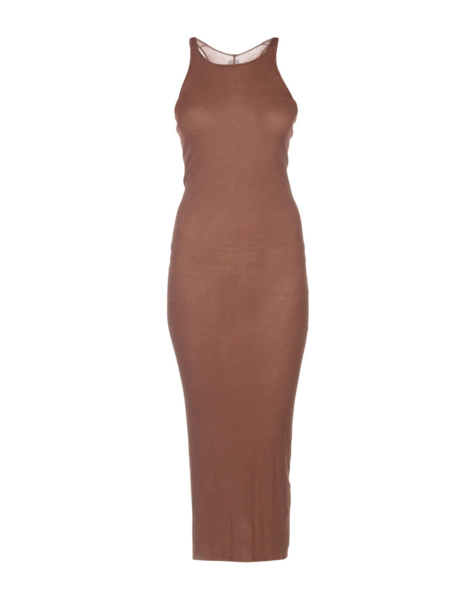 Rick Owens 3/4 Length Dresses In Cocoa
