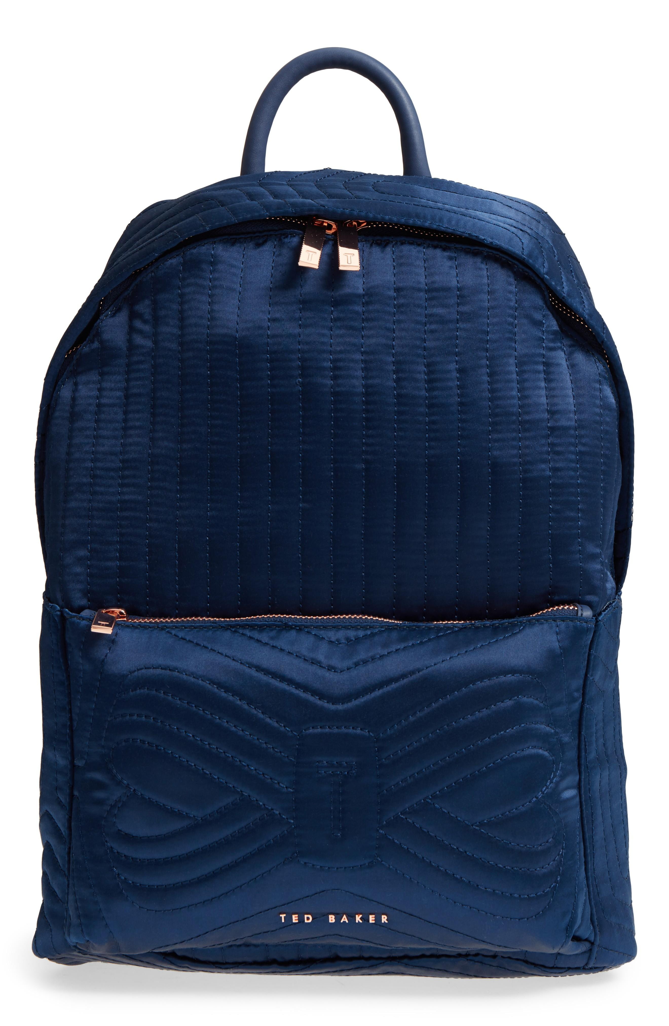 Ted Baker Akija Quilted Bow Backpack - Blue In Navy