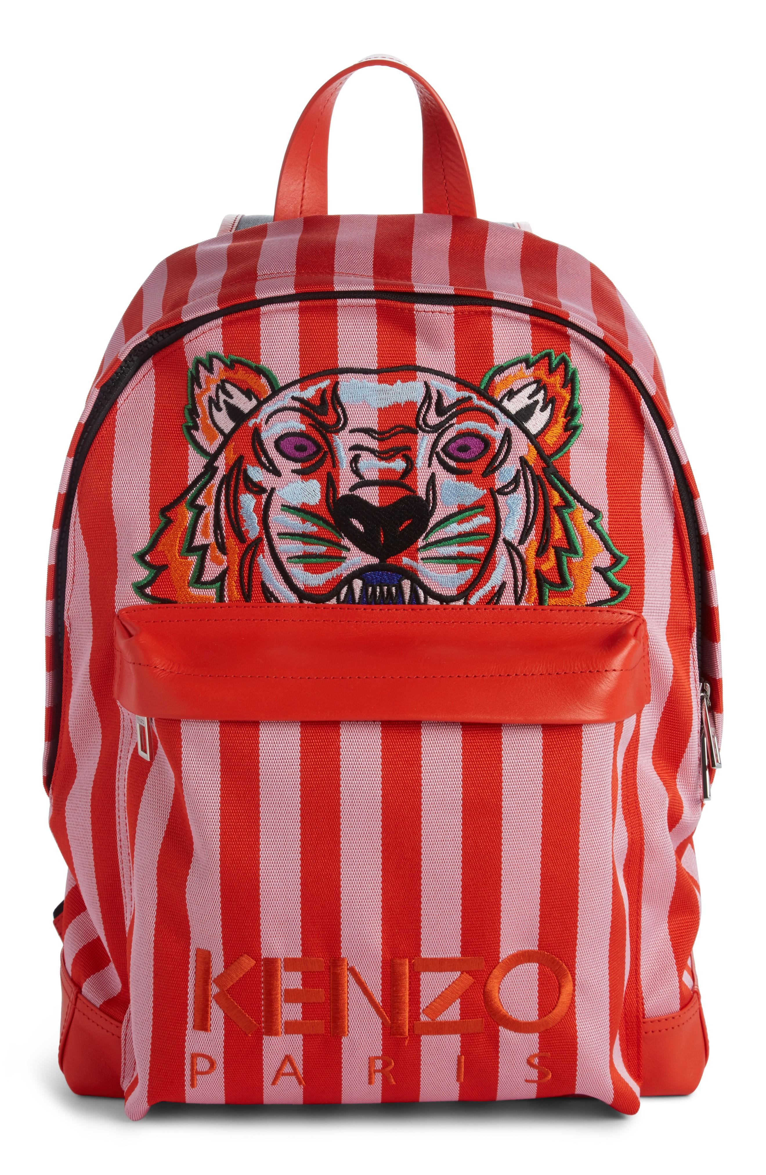 Kenzo Kanvas Embroidered Tiger Stripe Backpack - Pink In Flamingo Pink