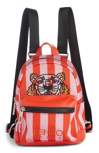 Kenzo Mini Kanvas Embroidered Tiger Stripe Backpack - Pink In Flamingo Pink