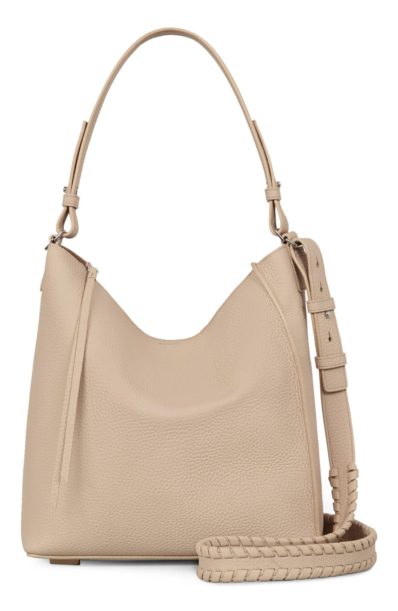 Allsaints 'kita' Leather Shoulder/crossbody Bag - Beige In Natural