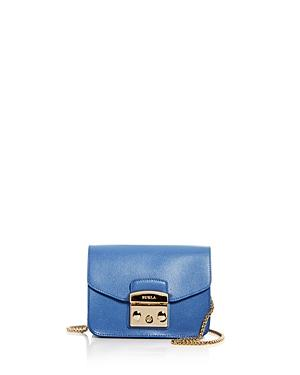 Furla Mini Metropolis Leather Crossbody Bag - Blue In Celeste C