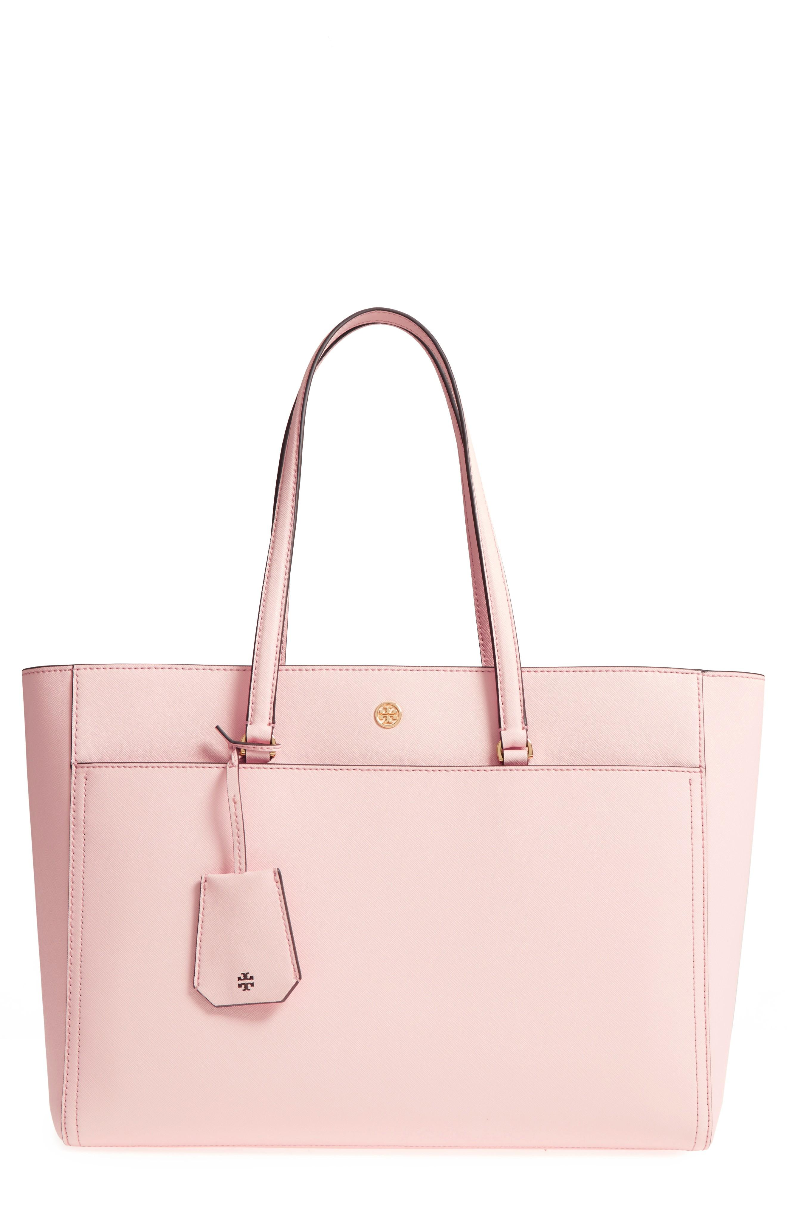 2c6ae39ec Tory Burch Robinson Leather Tote - Pink In Pale Apricot / Royal Navy ...