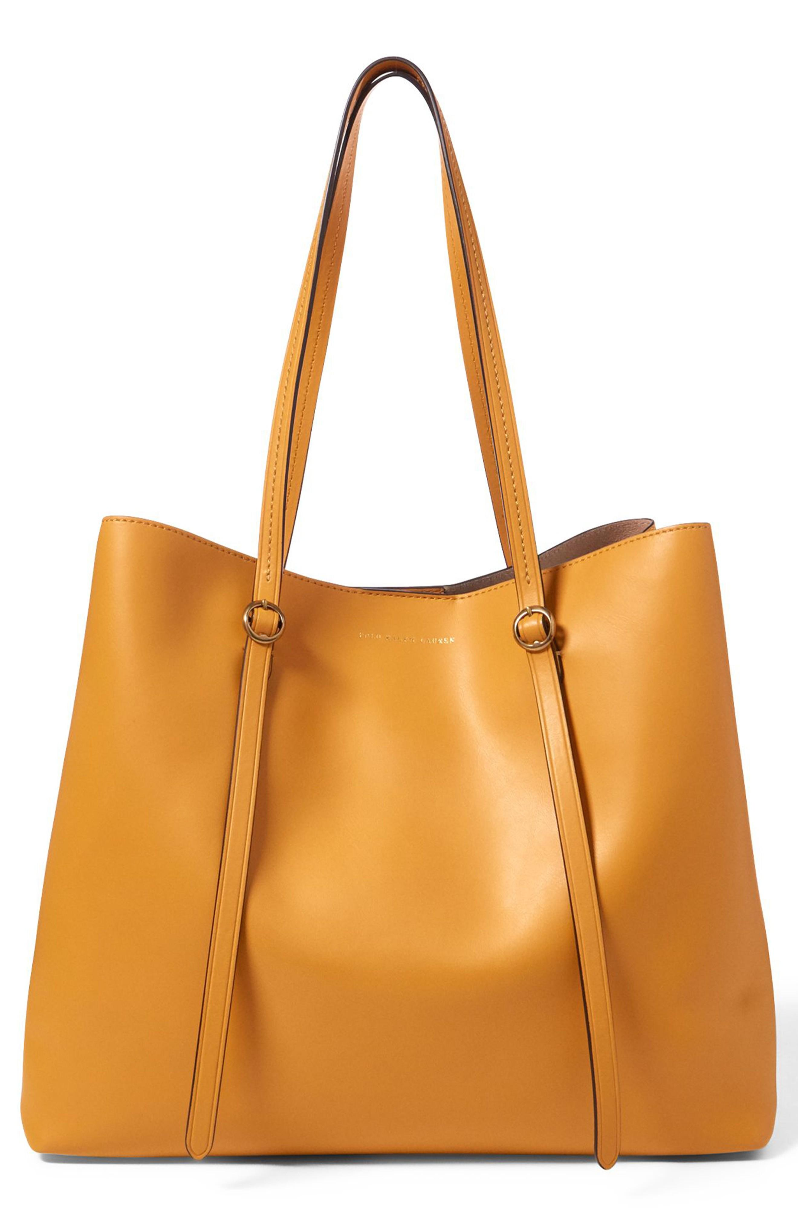 Polo Ralph Lauren Lennox Leather Tote - Yellow In Ochre