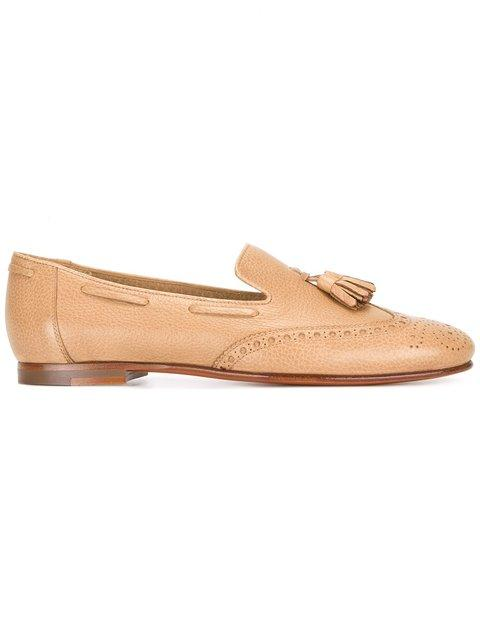 Santoni Perforated Detail Tassel Loafers - Neutrals In Nude & Neutrals