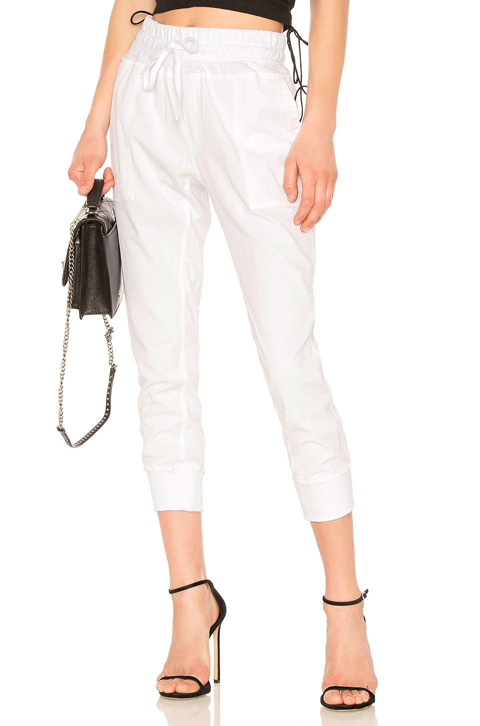 James Perse Contrast Cotton Pant In White